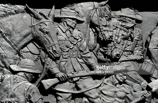 A detail on the exterior of the Anzac Memorial in Sydney's Hyde Park is shown in this photograph taken in Sydney on February 23 2010 The Art Deco...