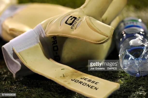 Detail on the gloves of Fulham goalkeeper Jesse Joronen