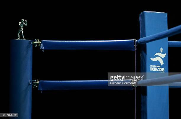 Detail on the ring corner during the Othman Arbabi of Qatar and Tran Quoc Viet of Vietnam Fly 51kg Men's Boxing Qualification bout at the 15th Asian...