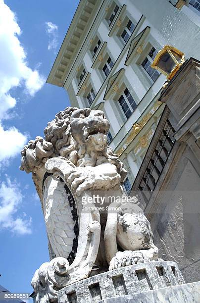 Detail outside view of late baroque Nymphenburg Castle seen on May 5 2008 in Munich Germany The Nymphenburg Castle was the former summer residence of...