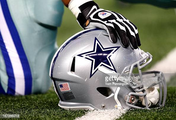 A detail photo of a Dallas Cowboys helmet before a game against the Philadelphia Eagles at Cowboys Stadium on December 2 2012 in Arlington Texas