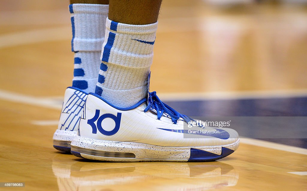 Detail photo of a Nike basketball shoe worn by a Duke Blue Devils player during their game against the Eastern Michigan Eagles at Cameron Indoor Stadium on December 28, 2013 in Durham, North Carolina.