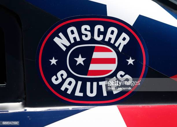 Detail photo of a sticker during practice for the Monster Energy NASCAR Cup Series CocaCola 600 at Charlotte Motor Speedway on May 25 2017 in...