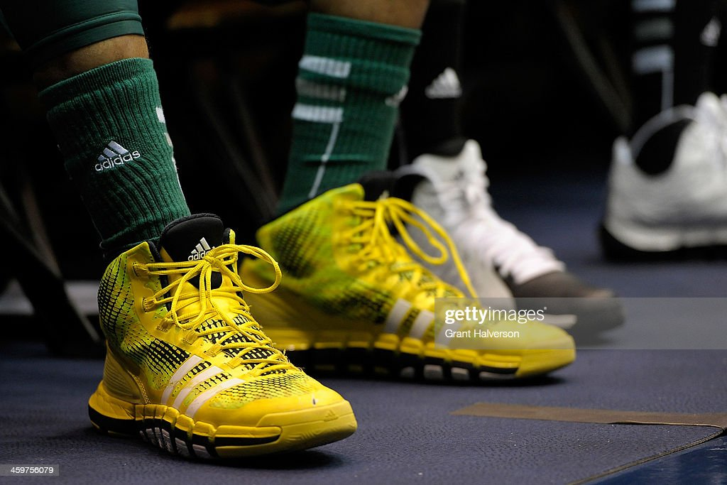 Detail photo of adidas shoes worn by an Eastern Michigan Eagles player during their game against the Duke Blue Devils at Cameron Indoor Stadium on December 28, 2013 in Durham, North Carolina. Duke won 82-59.