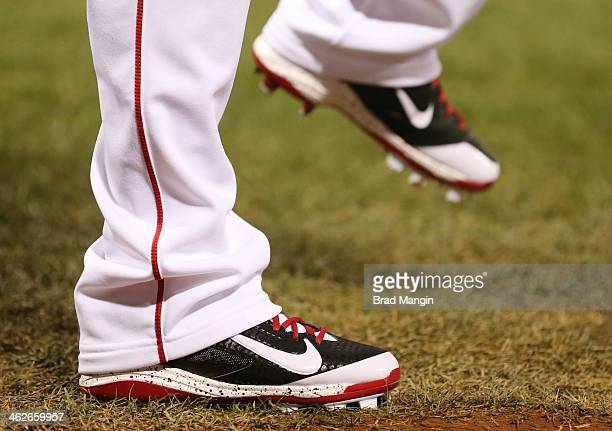 Detail photo of cleats worn by a Boston Red Sox player during Game 2 of the 2013 World Series against the St Louis Cardinals at Fenway Park on...
