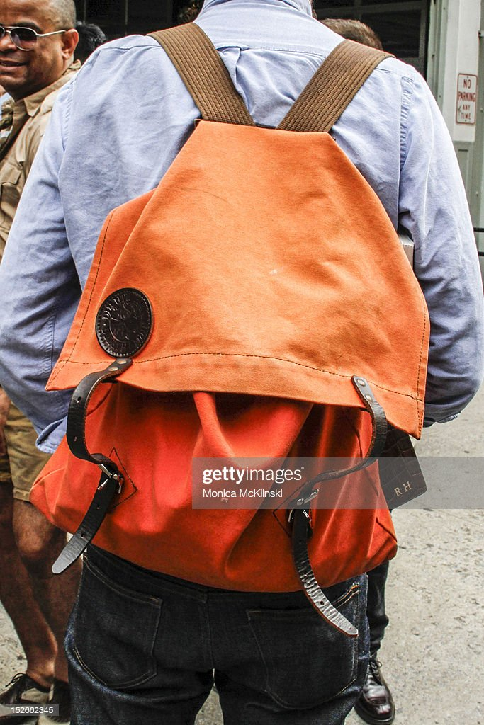 Detail photo of Duluth Pack backpack at Streets of Manhattan on September 6, 2012 in New York City.