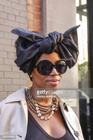 Detail photo of June Ambrose turban and June Ambrose sunglasses seen outside the Sophie Theallet showing at Milk Studios at Streets of Manhattan on...