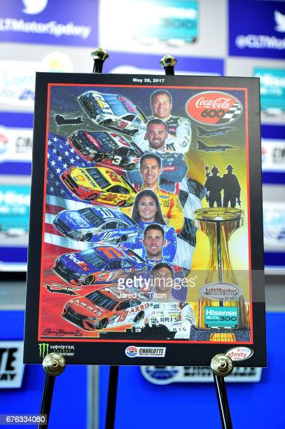 A detail photo of Sam Bass' artwork for the NASCAR AllStar and CocaCola 600 weekend program covers during the NASCAR XFINITY Series test session at...