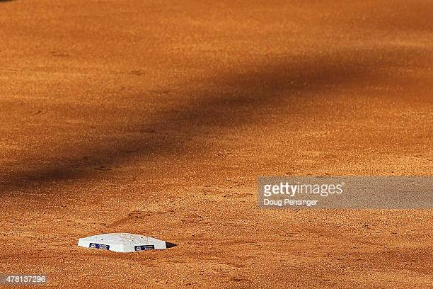 A detail photo of second base as the Los Angeles Dodgers face the Colorado Rockies at Coors Field on June 3 2015 in Denver Colorado