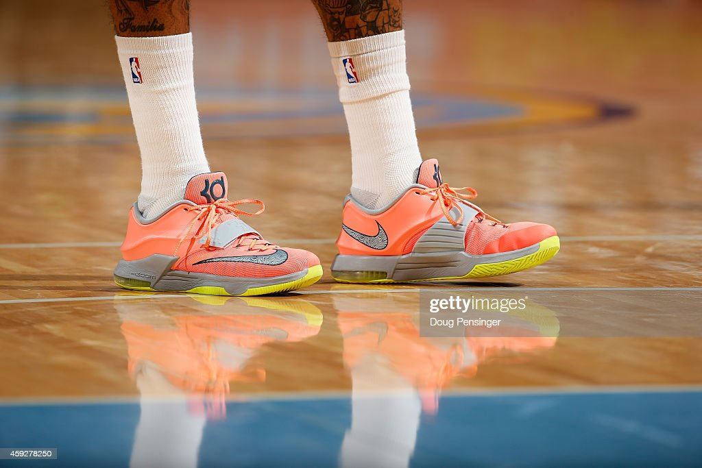 A detail photo of the court shoes of Wilson Chandler of the Denver Nuggets as he faces the Oklahoma City Thunder at Pepsi Center on November 19 2014...