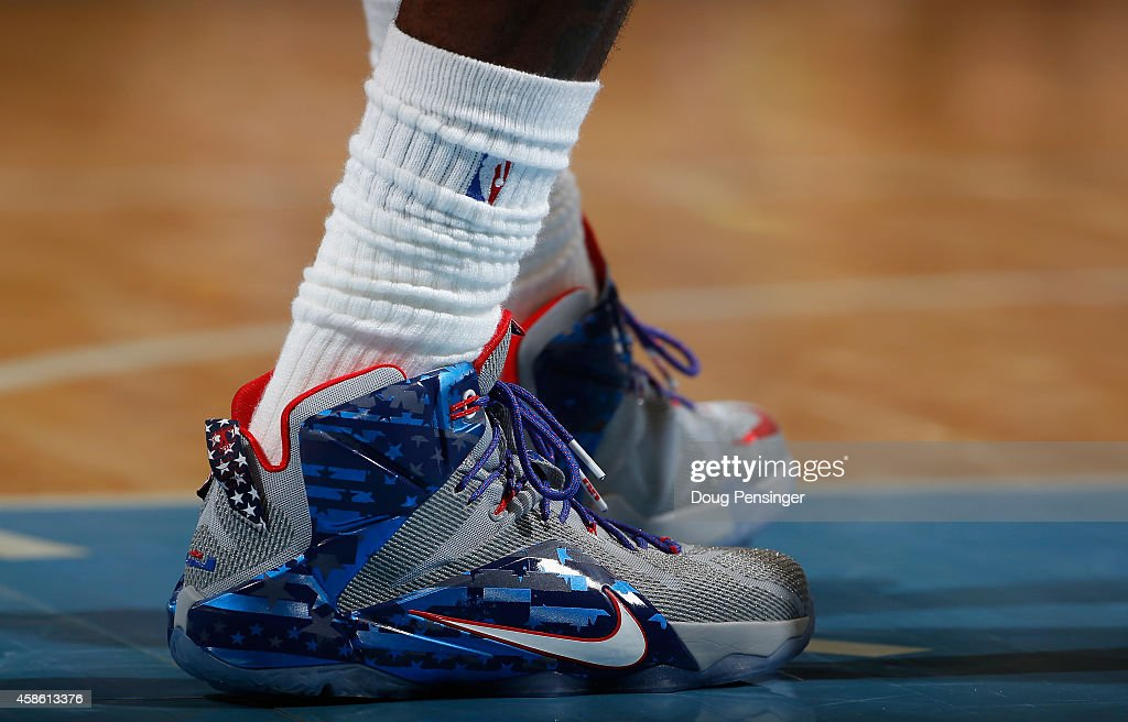 Detail photo of the court shoes worn by LeBron James of the Cleveland Cavaliers as he plays against the Denver Nuggets at Pepsi Center on November 7...