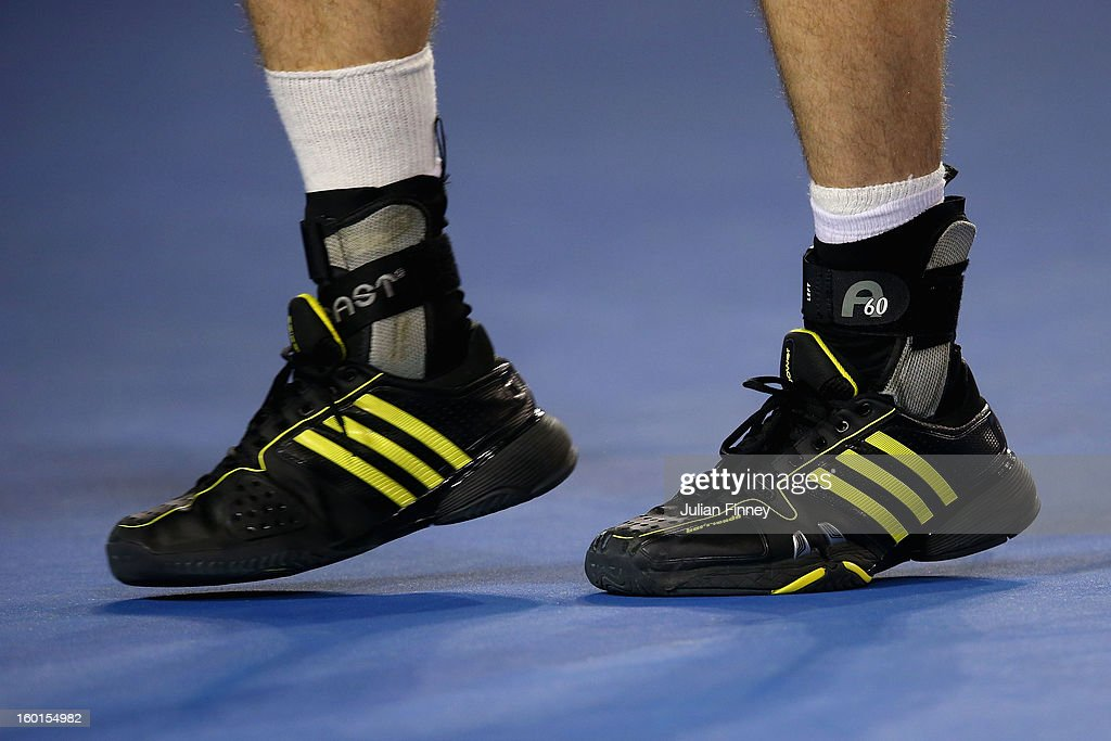 A detail photo of the feet of Andy Murray of Great Britain after receiving medical attention to his foot in his men's final match against Novak Djokovic of Serbia during day fourteen of the 2013 Australian Open at Melbourne Park on January 27, 2013 in Melbourne, Australia.