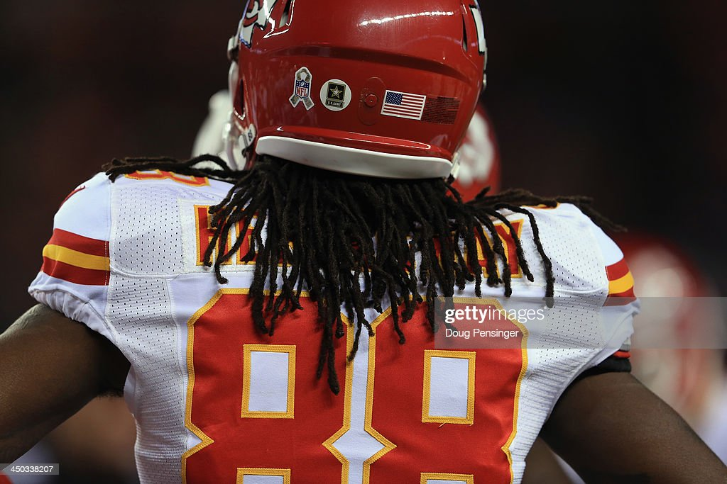 A detail photo of the hair, jersey and helmet of wide receiver Junior Hemingway #88 of the Kansas City Chiefs as he faces the Denver Broncos at Sports Authority Field at Mile High on November 17, 2013 in Denver, Colorado. The Broncos defeated the Chiefs 27-17.