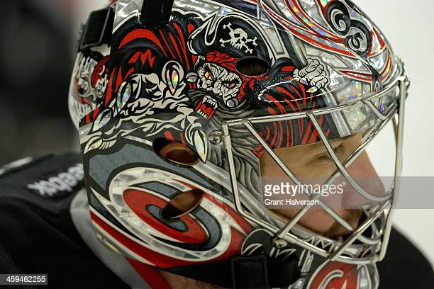 Detail photo of the helmet of Cam Ward of the Carolina Hurricanes against against the Washington Capitals during their game at PNC Arena on December...