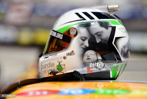Detail photo of the helmet of Kyle Busch driver of the MM's Toyota prior to the start of the Monster Energy NASCAR Cup Series Food City 500 at...