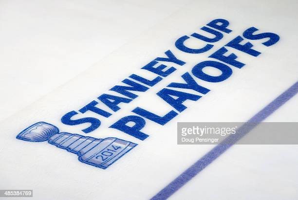 A detail photo of the logo on the ice as it is ready for action as the Minnesota Wild face the Colorado Avalanche in Game One of the First Round of...