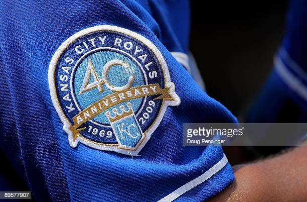 A detail photo of the patch commemorating the 40th Anniversary of the Kansas City Royals on the uniform of Alberto Callaspo of the Kansas City Royals...