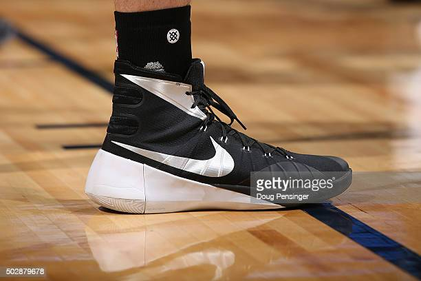 Detail photo of the shoes of Kevin Love of the Cleveland Cavaliers as he faces the Denver Nuggets at Pepsi Center on December 29 2015 in Denver...