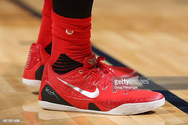 A detail photo of the shoes of Terrence Jones of the Houston Rockets as he faces the Denver Nuggets at Pepsi Center on November 13 2015 in Denver...