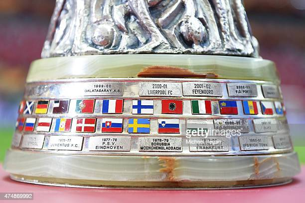 A detail photo of the the Europa League trophy showing previous winners prior to the UEFA Europa League Final match between FC Dnipro Dnipropetrovsk...