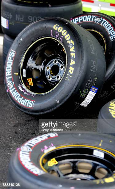Detail photo of tires during practice for the Monster Energy NASCAR Cup Series CocaCola 600 at Charlotte Motor Speedway on May 25 2017 in Charlotte...
