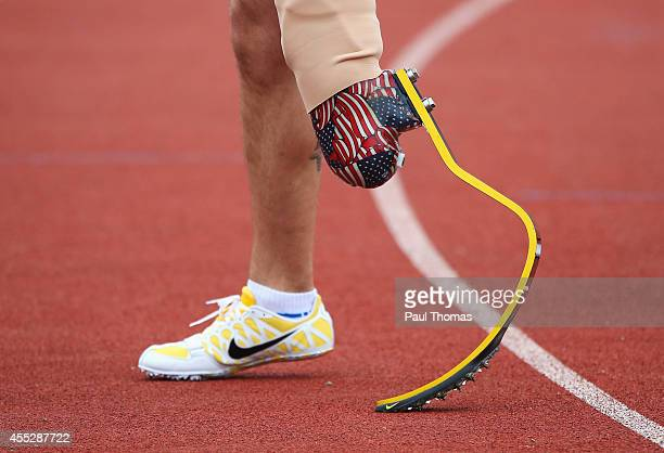 A detail photo showing the prosthetic leg of Redmond Ramos of the United States after the 100m Men Ambulant IT1 final during day 1 of the Invictus...