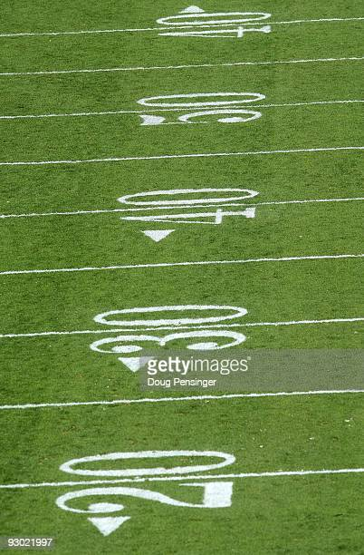 A detail photograph of the yardage lines as the Colorado Buffaloes face the Texas AM Aggies during NCAA college football action at Folsom Field on...