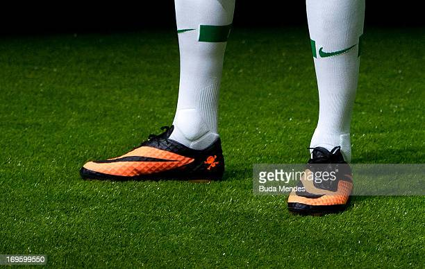 A detail shot as Brazilian football star Neymar presents his new Nike football boots on May 28 2013 in Rio de Janeiro Brazil Neymar signed a fiveyear...