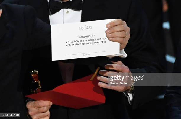 Detail shot as 'La La Land' producer Jordan Horowitz holds up the winner card reading actual Best Picture winner 'Moonlight' onstage during the 89th...