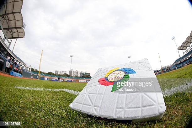 A detail shot of a base with the World Baseball Classic Logo on the field before Game 1 of the 2013 World Baseball Classic Qualifier between Team...