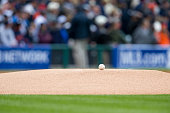 A detail shot of a baseball on the mound before the start of Game 3 of the ALDS between the Baltimore Orioles and the Detroit Tigers at Comerica Park...