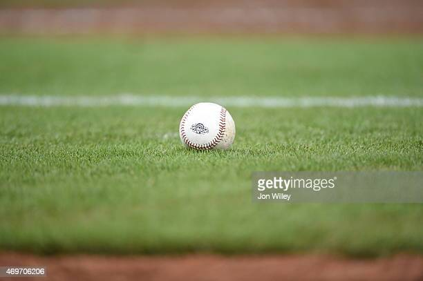 A detail shot of a baseball with the opening day logo during the game between the Atlanta Braves and the Miami Marlins at Marlins Park on Monday...