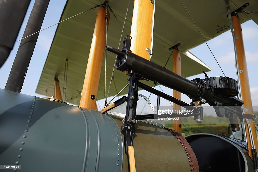 A detail shot of a Be2 at 'The Shuttlesworth Collection' at Old Warden on July 21, 2014 in Biggleswade, England. Of the 55,000 planes that were manufactured by the Royal Army Corps (RAC) during WWI, only around 20 remain in airworthy condition. Six of these belong to The Shuttleworth Collection at Old Warden, Bedfordshire, making it the most complete collection of original airworthy WWI aircraft in the world. Amongst the collection is the SE5a. The SE5a is a single seater fighter aircraft. It is an original biplane designed by the Royal Aircraft Factory, with its engine built by Wolseley Motors Ltd, and it was issued to 84 Squadron in November 1918. The National Archive in Kew has recently verified that the plane saw action in France with 84 Squadron the day before Armistice, November 10, 1918.