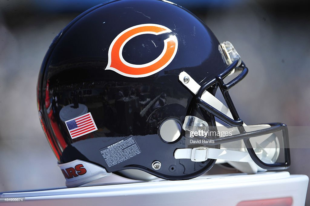 A detail shot of a Bears helmet on September 7 2014 at Soldier Field in Chicago Illinois