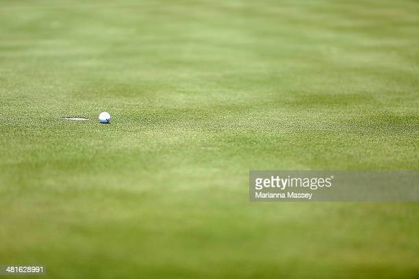 A detail shot of a golf ball on the 10th green during the Final Round of the Valero Texas Open at TPC San Antonio ATT Oaks Course on March 30 2014 in...