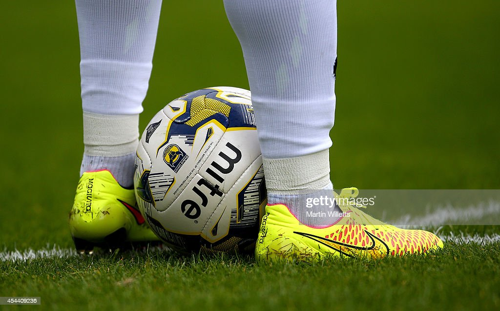Detail shot of a Mitre Oxford United Sky Bet League Two match ball and Nike boots during the Sky Bet League Two match between Oxford United and...