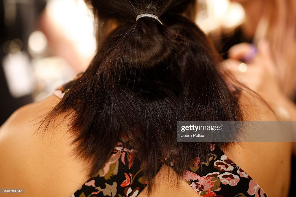 A detail shot of a Models hair is seen backstage ahead of the Dimitri show during the Mercedes-Benz Fashion Week Berlin Spring/Summer 2017 at Erika Hess Eisstadion on June 30, 2016 in Berlin, Germany.