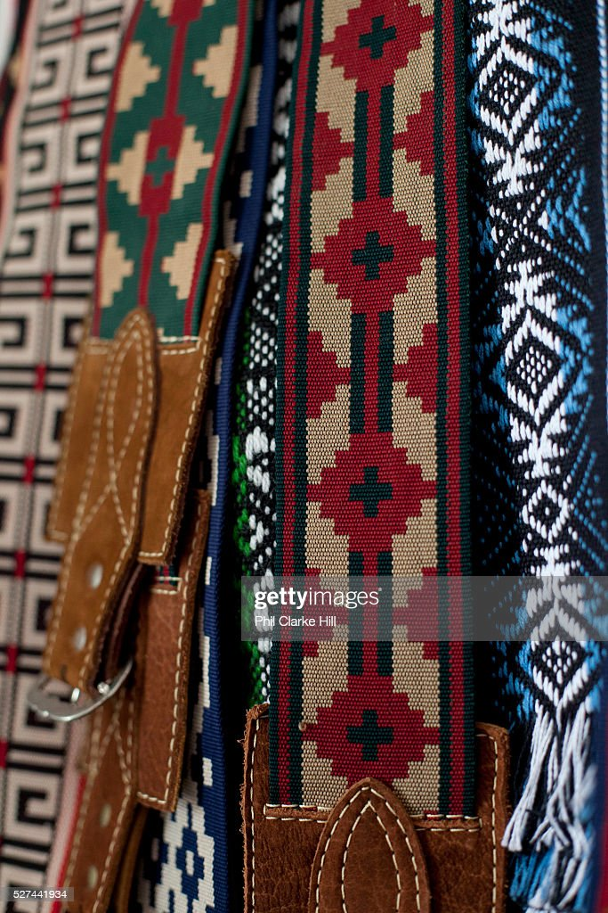 Detail shot of a pair of traditional Gaucho belts Reponte da Cancao music festival and song competition in Sao Lorenzo do Sul RIo Grande do Sul Brazil