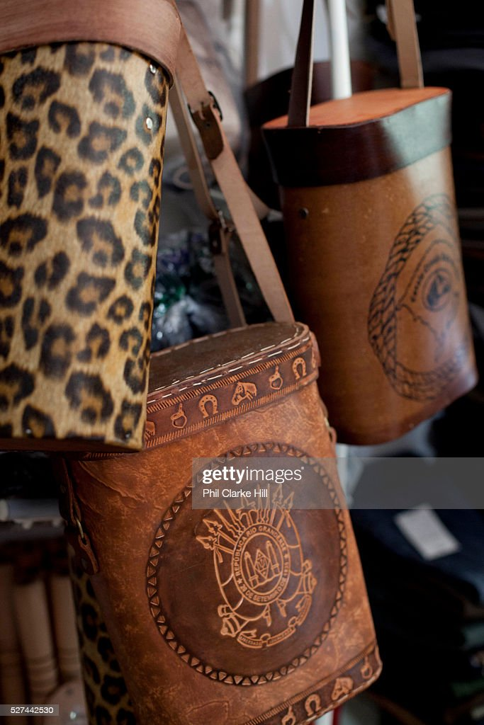 Detail shot of a pair of traditional Gaucho leather bags Reponte da Cancao music festival and song competition in Sao Lorenzo do Sul RIo Grande do...