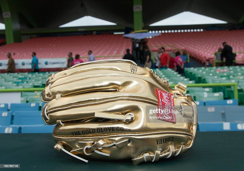 A detail shot of a Rawling Gold Glove in the dugtout before Pool C, Game 1 between Dominican Republic and Venezuela in the first round of the 2013 World Baseball Classic at Hiram Bithorn Stadium on March 7, 2013 in San Juan, Puerto Rico.