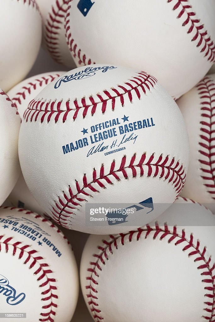 A detail shot of a Rawlings baseball, the Official Ball of Major League Baseball photographed on December 19, 2012 in New York City.
