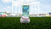 A detail shot of a Rawlings Official Major League Baseball on the field before Game 1 of the Royals' ALDS between the Houston Astros and Kansas City...