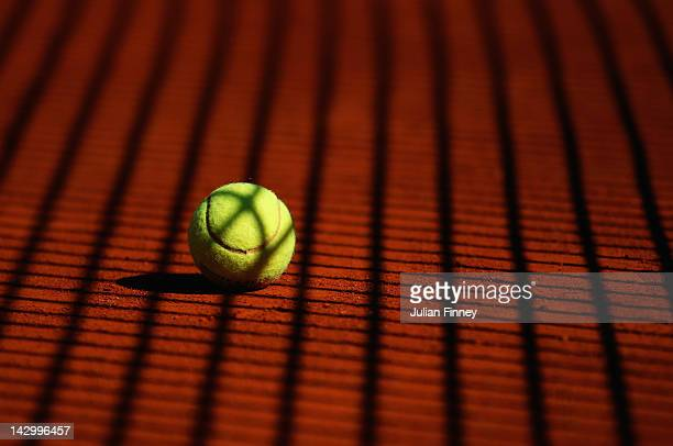A detail shot of a tennis ball on clay during day three of the ATP Monte Carlo Masters on April 17 2012 in MonteCarlo Monaco