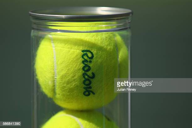 A detail shot of a tub of balls on Day 1 of the Rio 2016 Olympic Games at the Olympic Tennis Centre on August 6 2016 in Rio de Janeiro Brazil