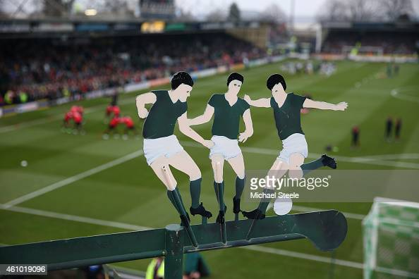 Detail shot of a weather vane above the away terrace during the FA Cup Third Round match between Yeovil Town and Manchester United at Huish Park on...