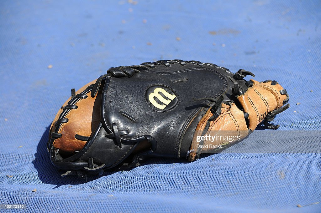 A detail shot of a Wilson baseball glove before the game between the Chicago White Sox and the Seattle Mariners on April 7, 2013 at U.S. Cellular Field in Chicago, Illinois.
