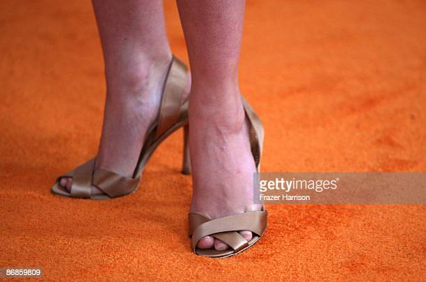 A detail shot of actress Melissa George's shoes at the 16th Annual Race to Erase MS event themed 'Rock To Erase MS' cochaired by Nancy Davis and...