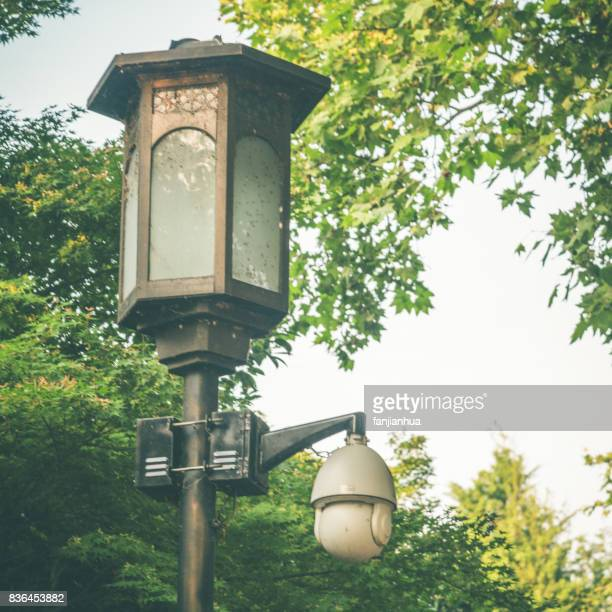 detail shot of antique Street lamp and cctv camera  against trees