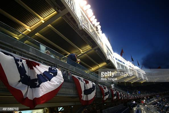 A detail shot of bunting around Yankee Stadium prior to the American League Wild Card Game between the Houston Astros and the New York Yankees on...