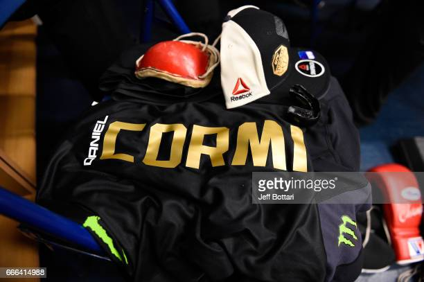 A detail shot of Daniel Cormier's fight gear backstage during the UFC 210 event at the KeyBank Center on April 8 2017 in Buffalo New York